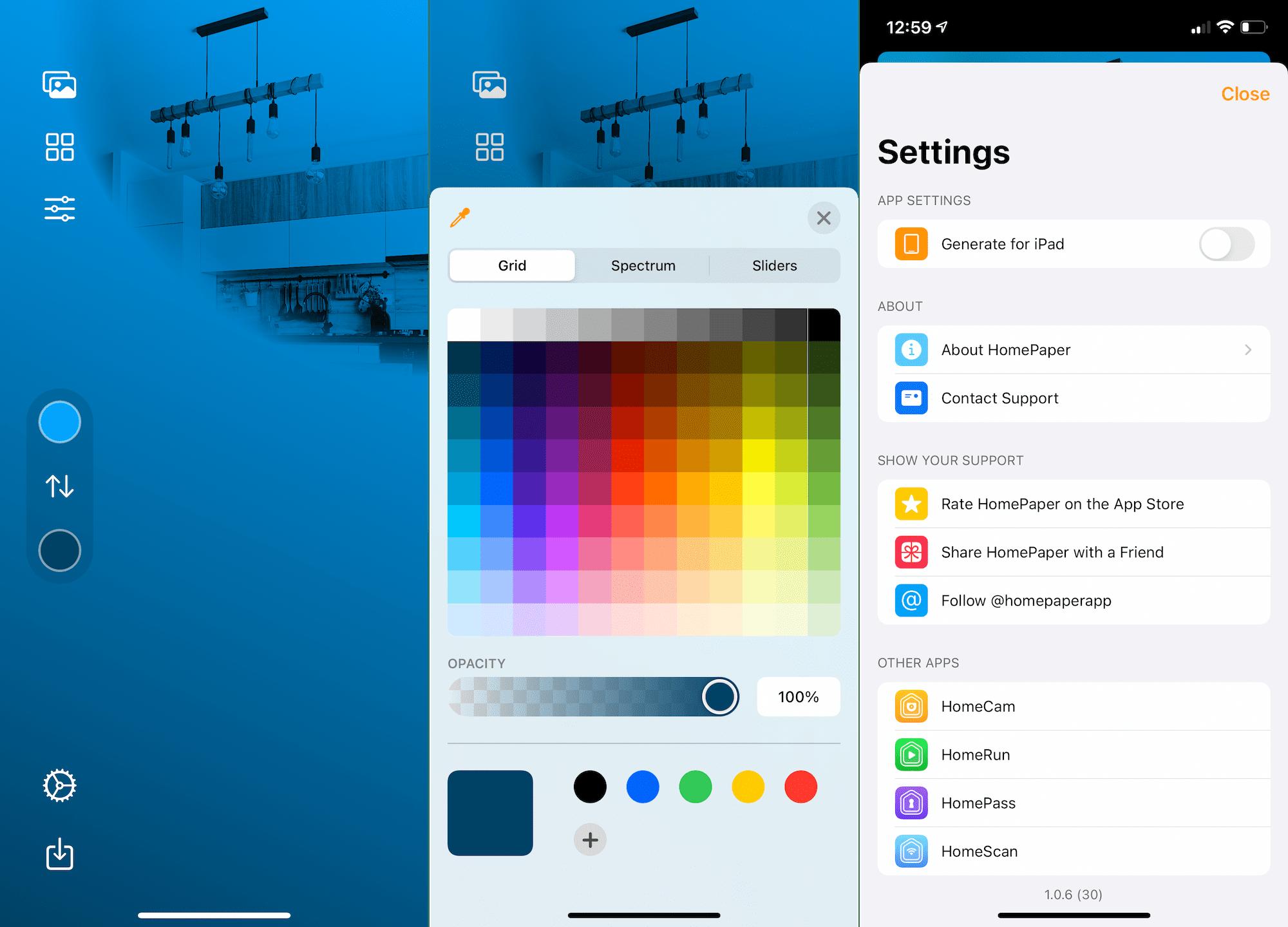 HomePaper app Options