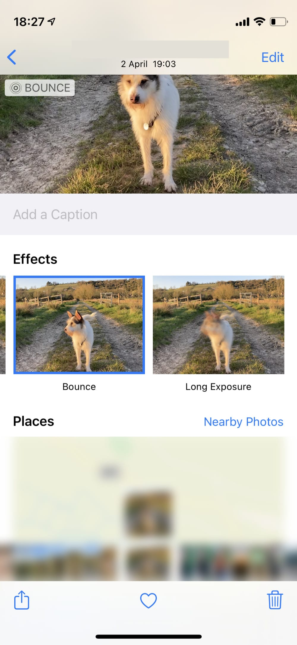Live Effect Bounce option on iPhone.