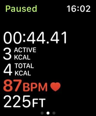 Metrics screen from Workout app