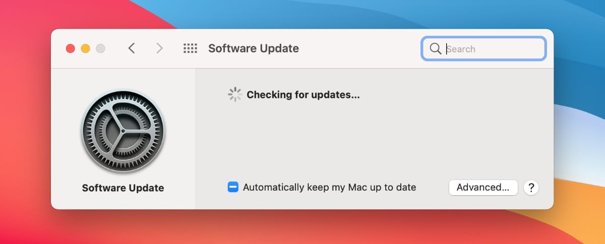 Software Update page in macOS System Preferences.