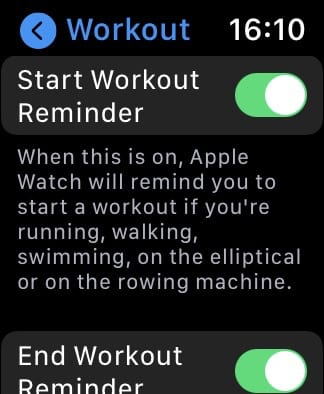 Start Workout Reminder option in Apple Watch settings.