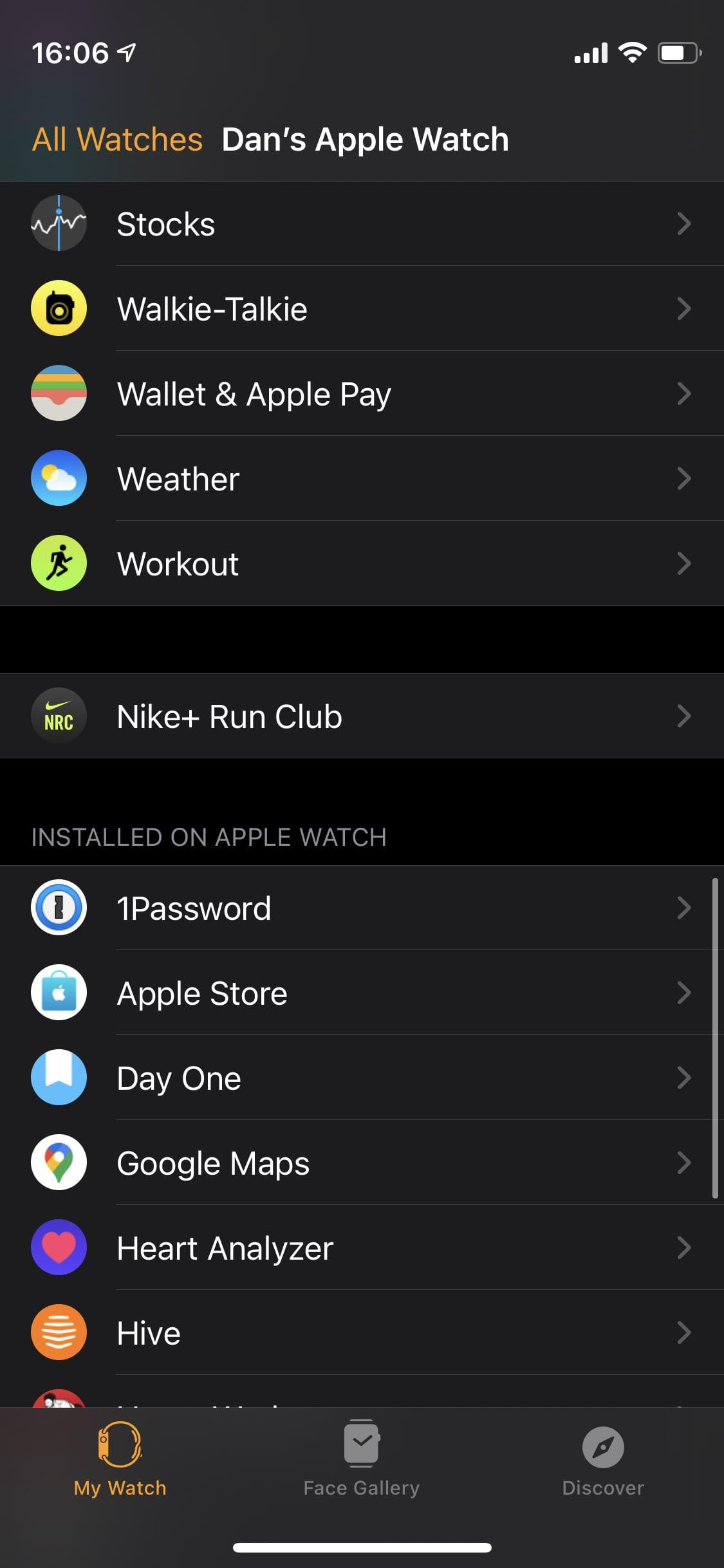Watch app settings.