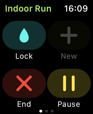 Workout controls on Apple Watch.