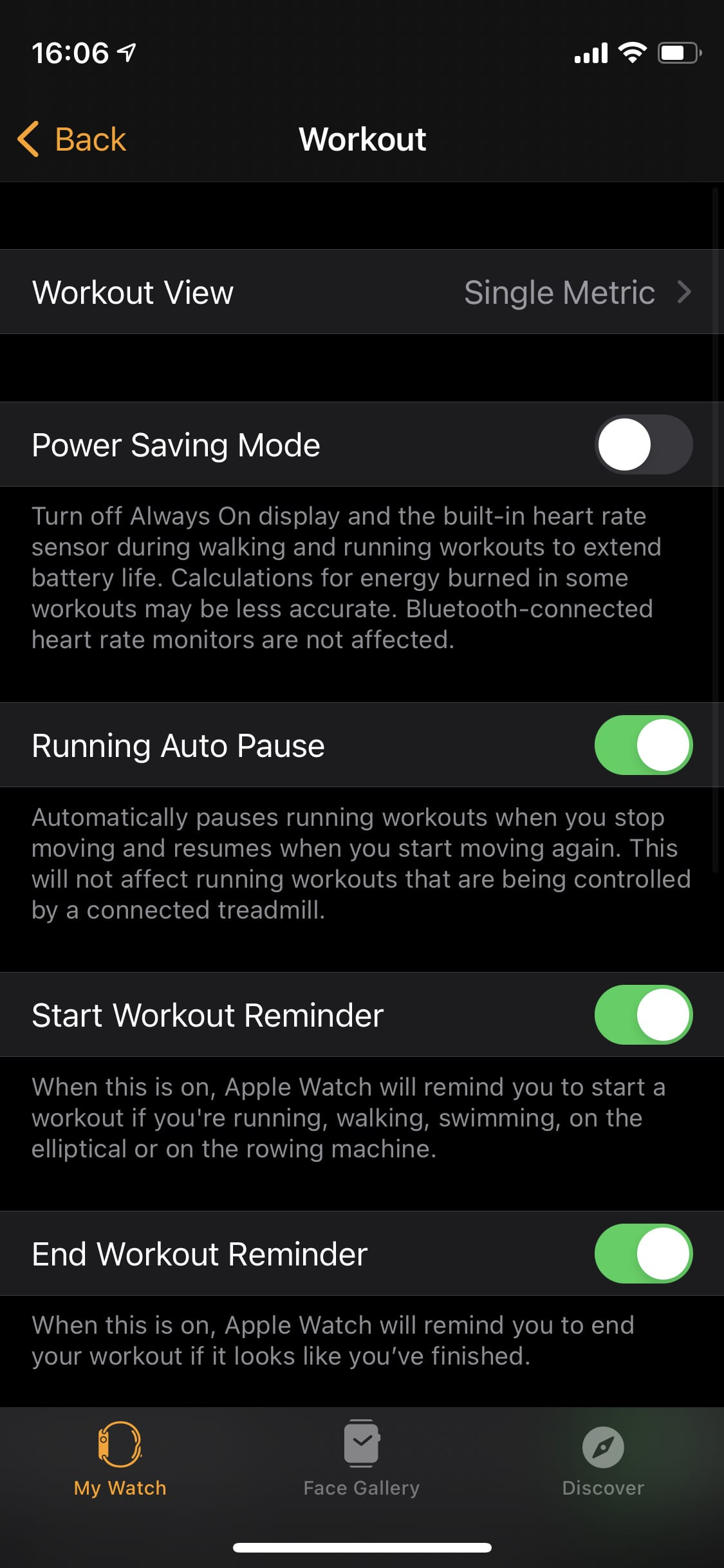 Workout settings for Apple Watch.