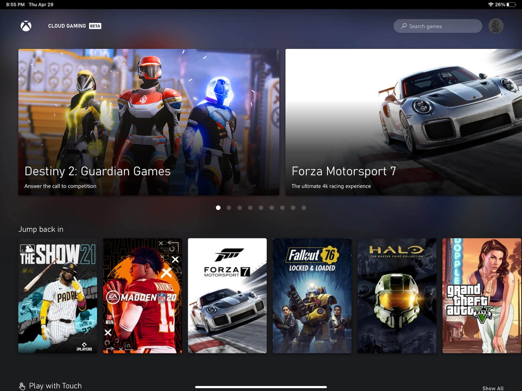 Xbox Cloud Gaming on iPad