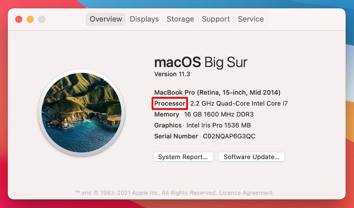About This Mac window highlighting Intel Processor