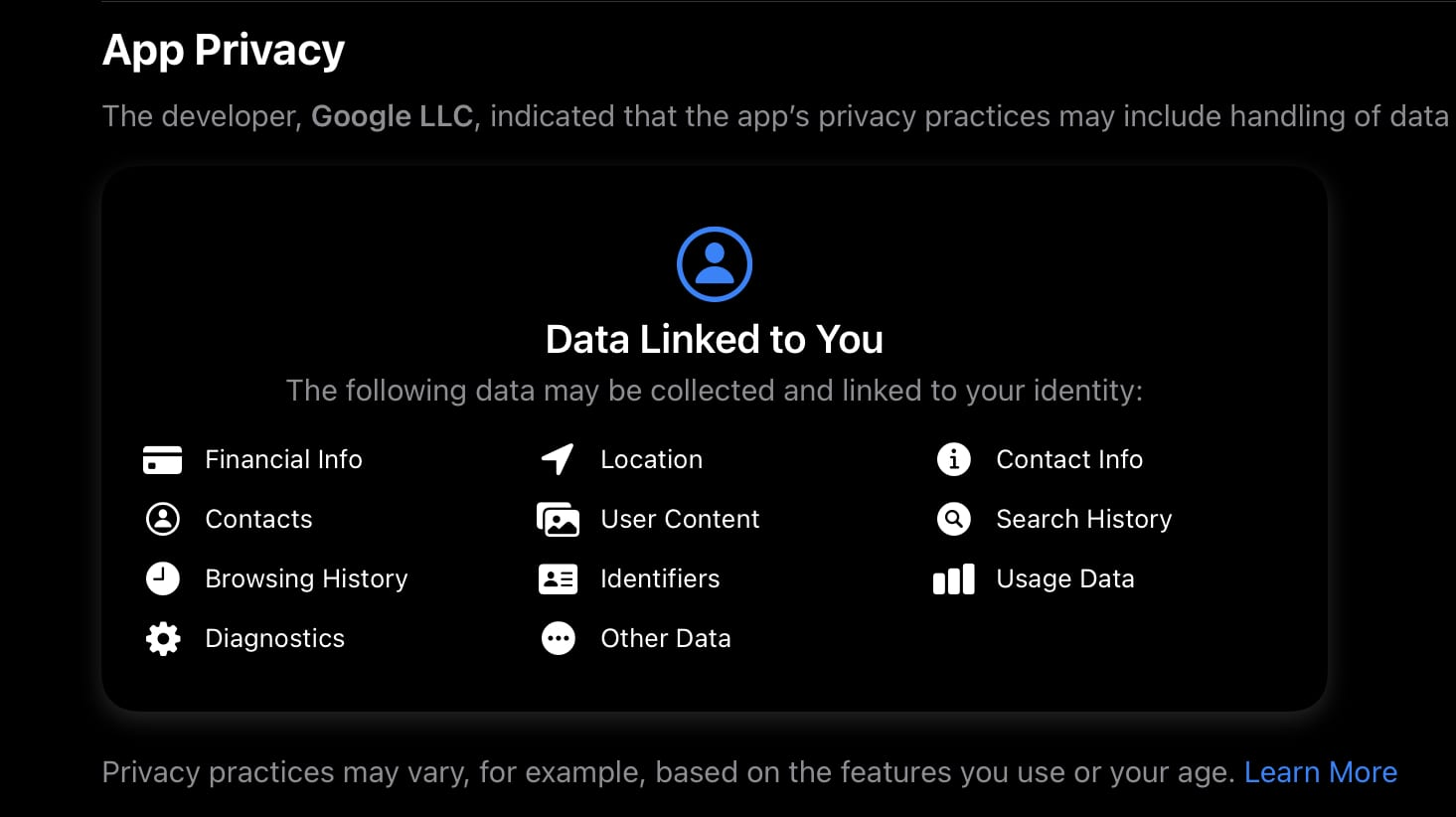 Google App Privacy Label