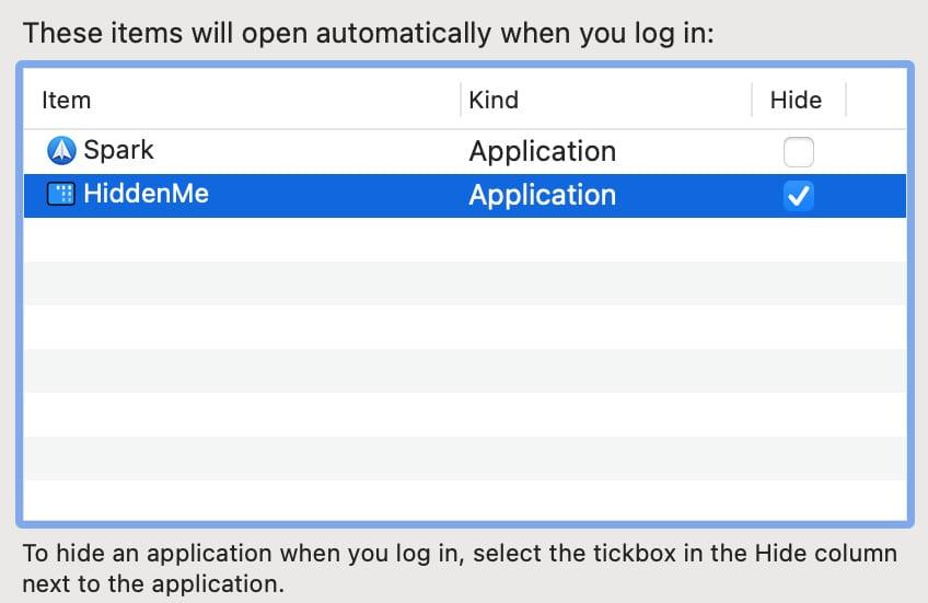 Скрыть параметр для элементов входа на Mac