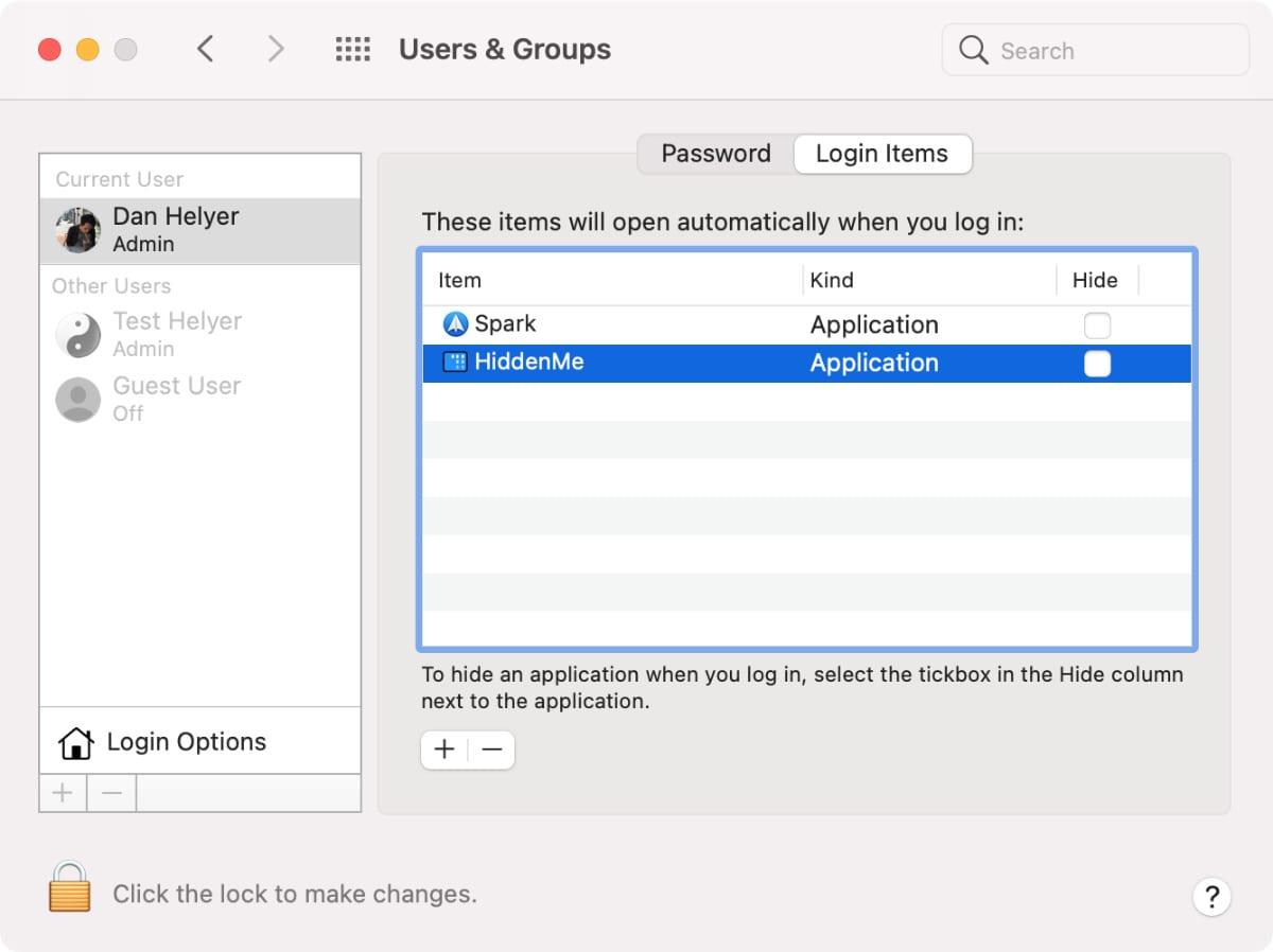 Элементы входа, выбранные на Mac