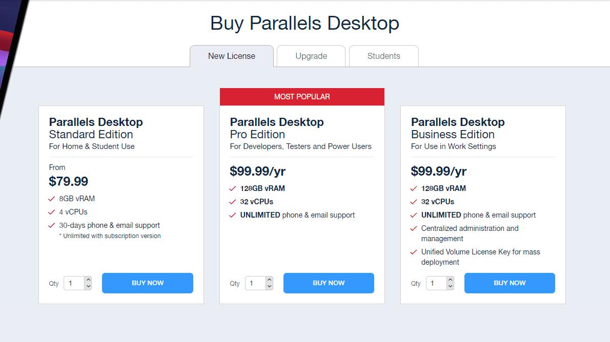 Parallels Desktop 17 Pricing