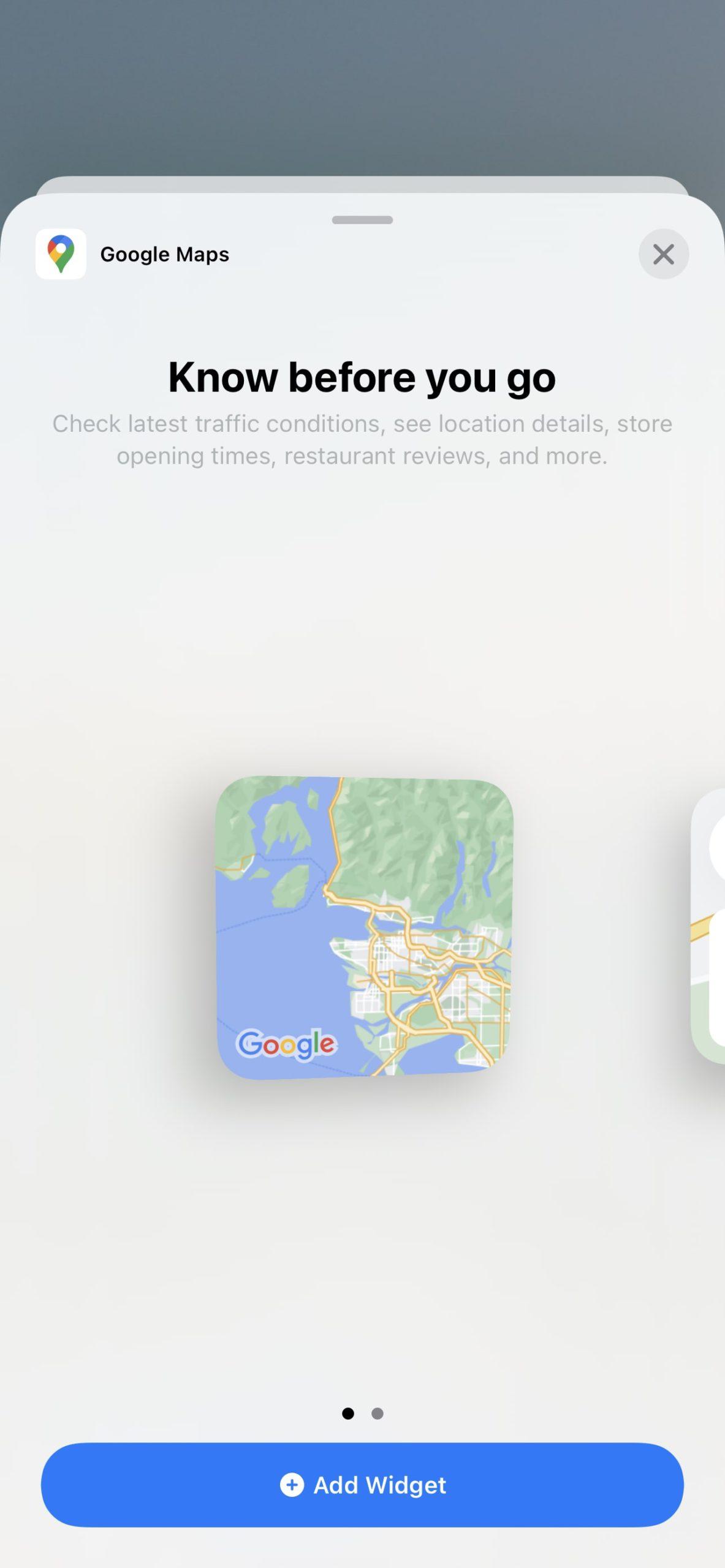 Use Google Maps Widget on iPhone 1