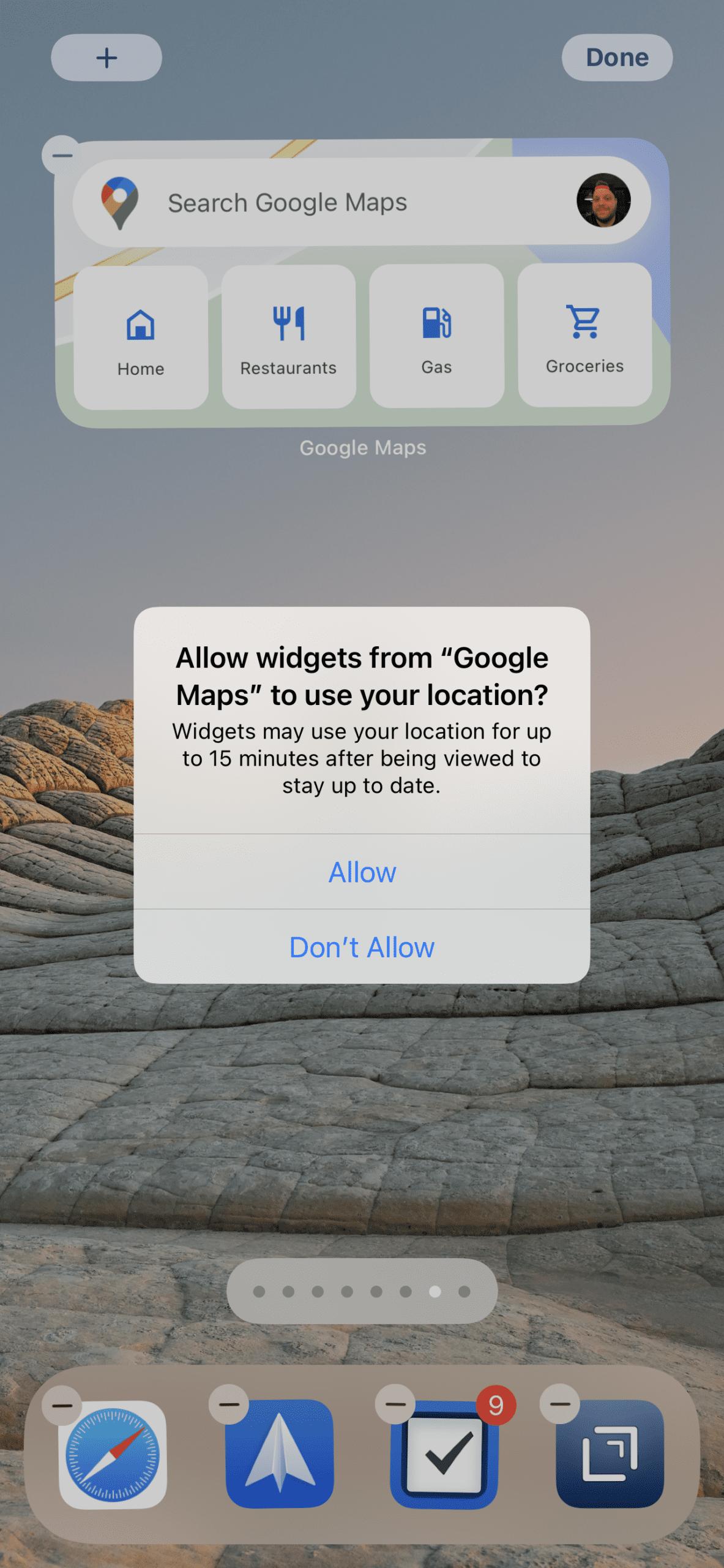 Use Google Maps Widget on iPhone 3