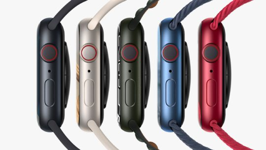 The five new color options, in order of Midnight, Starlight, Green, Blue, and Product Red.