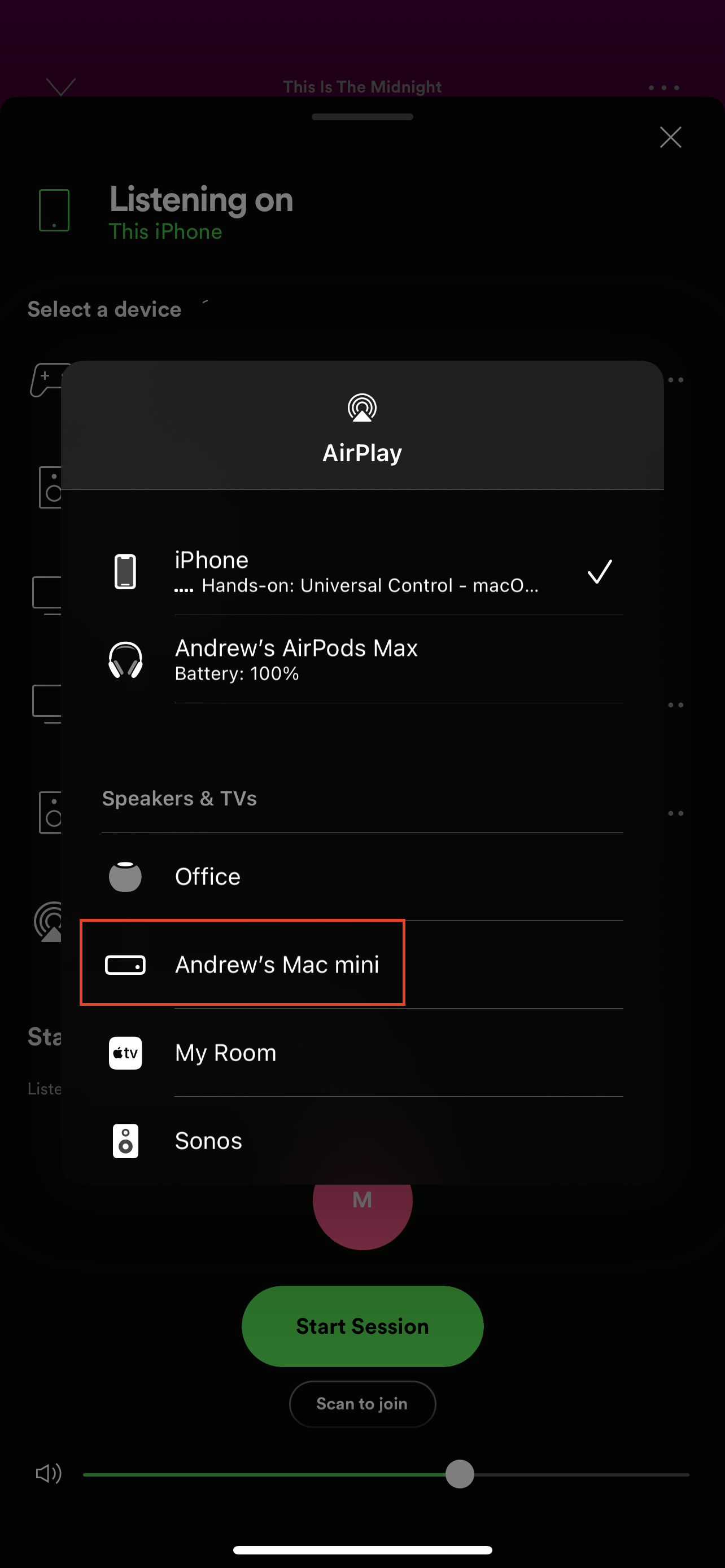 How to AirPlay from iPhone to Mac using Spotify 2