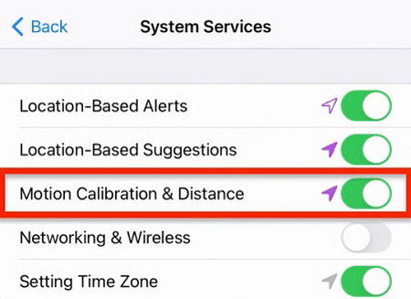 Motion-Calibration-Distance-settings-iPhone