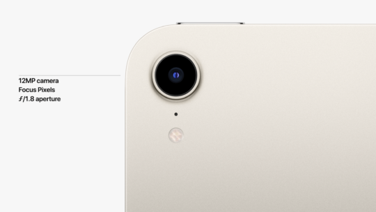 The 2021 iPad mini comes with a new 12MP camera, True Tone flash for low-light photos, Focus Pixels for better depth of field, and an f/1.8 aperture.