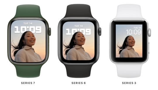 Comparing the Apple Watch Series 7 display to the older Series 6 and SE models.