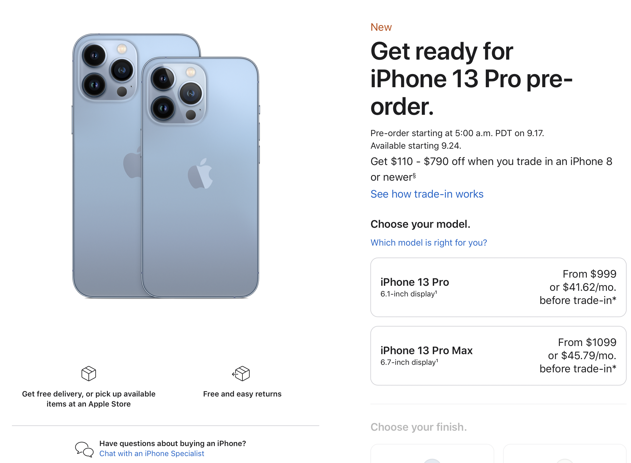 Pre-order iPhone 13 Listing