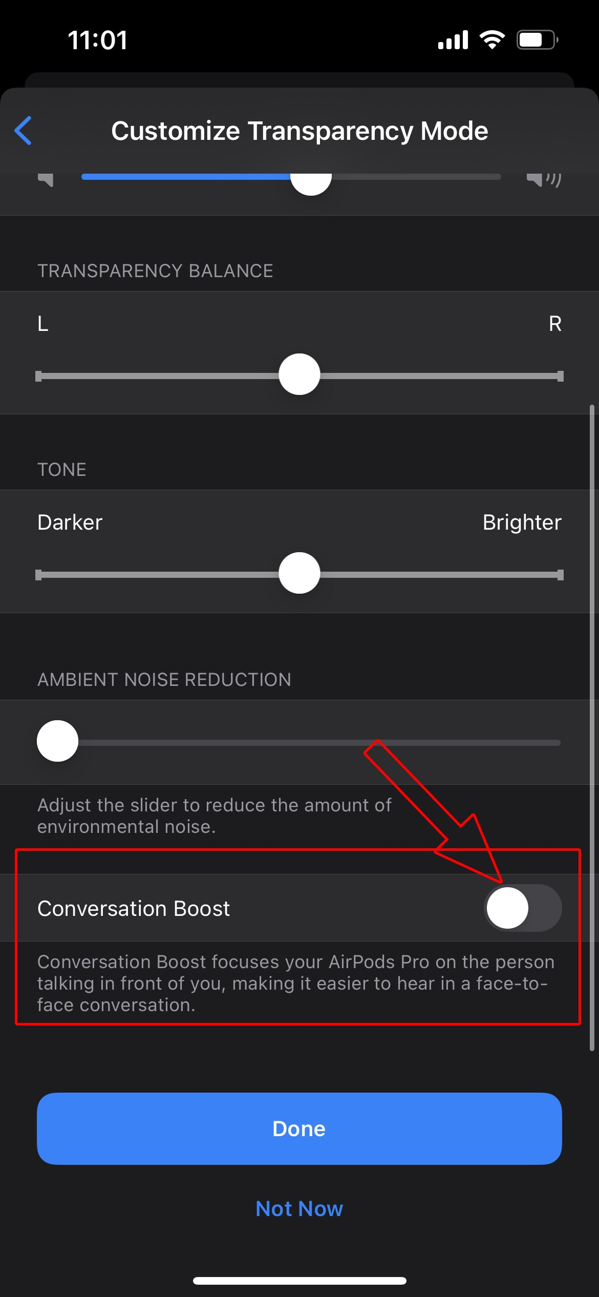 Enable Conversation Boost on AirPods Pro with iPhone 9