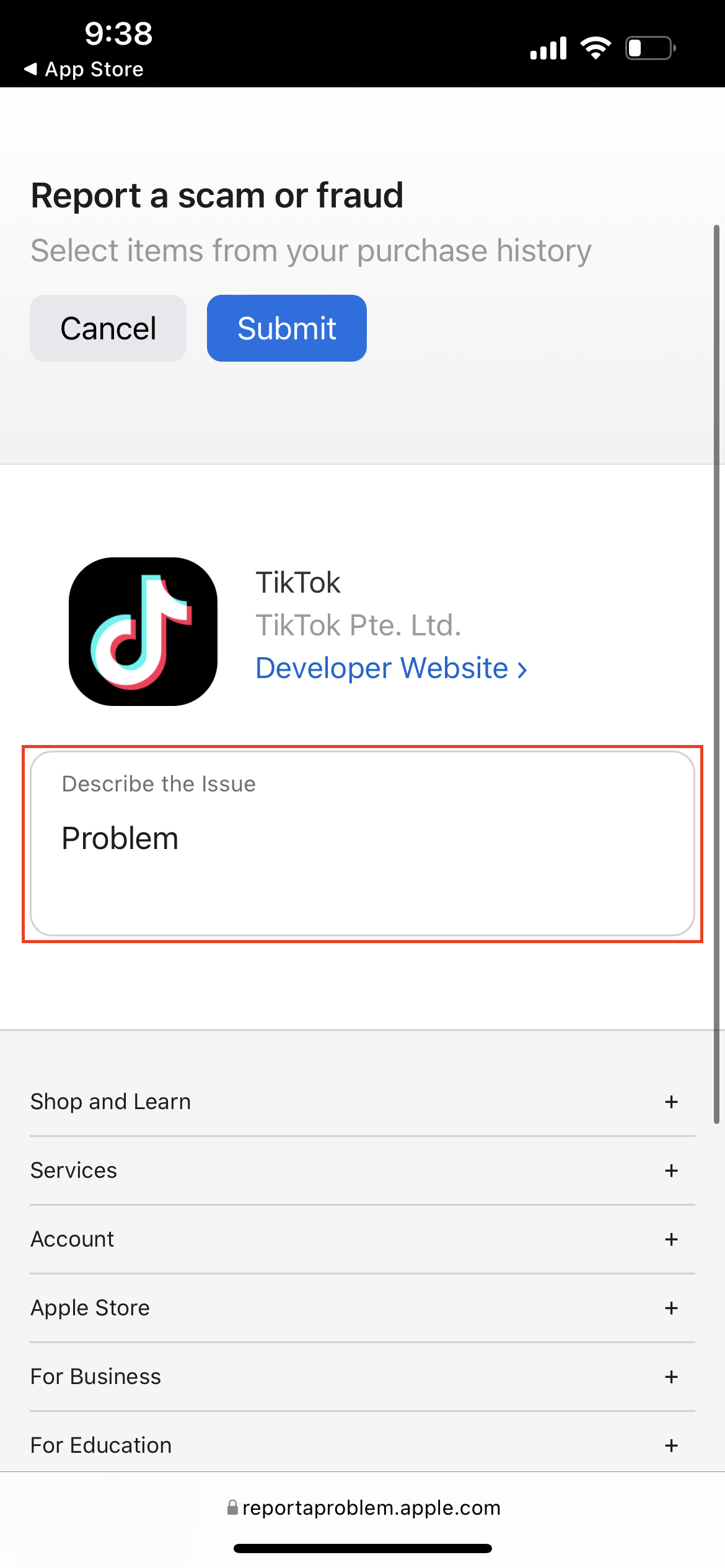 How to report App Store Scams 2