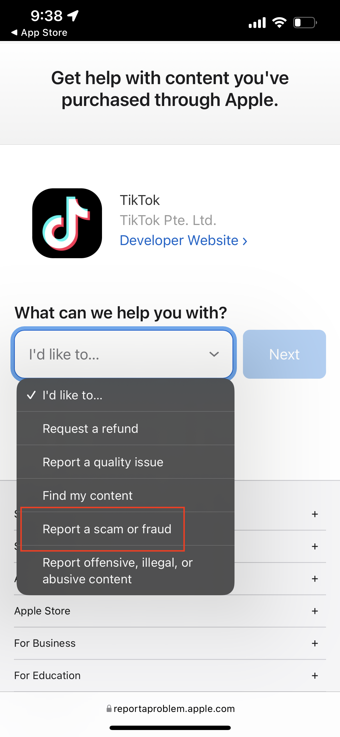 How to report App Store Scams 3